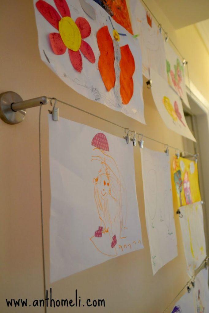 30 ιδέες για την καθημερινότητα όλης της οικογένειας_τρόπος για να εκθέσουμε τις ζωγραφιές των παιδιών στο σπίτι ή το σχολείο.