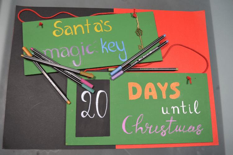 Χριστουγεννιάτικο Ημερολόγιο αντίστροφης μέτρησης και Μαγικό κλειδί για τον Άι Βασίλη με Stabilo pen 68 metallic